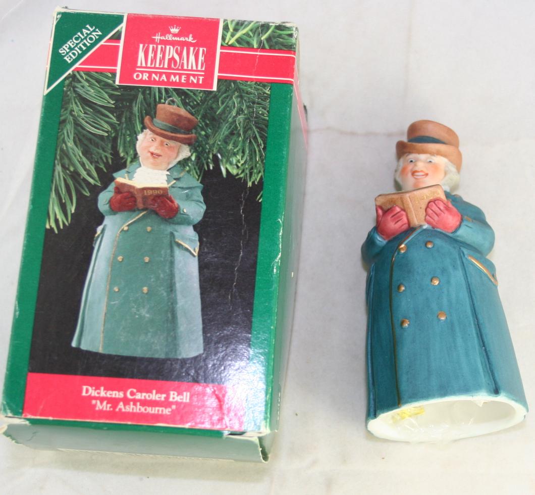 vintage christmas,hallmark,Dickens Caroler Bells,series,Mr Ashbourne, 1990