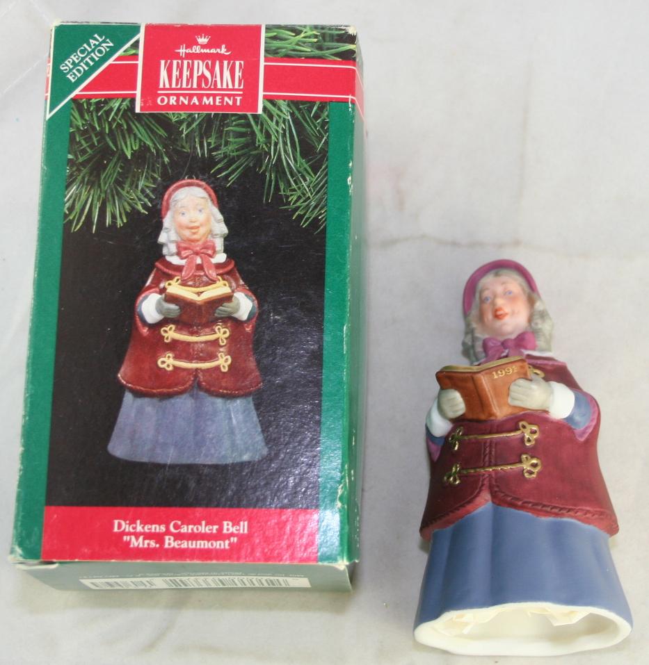 vintage christmas,hallmark,Dickens Caroler Bells,series,Mrs Beaumont, 1991