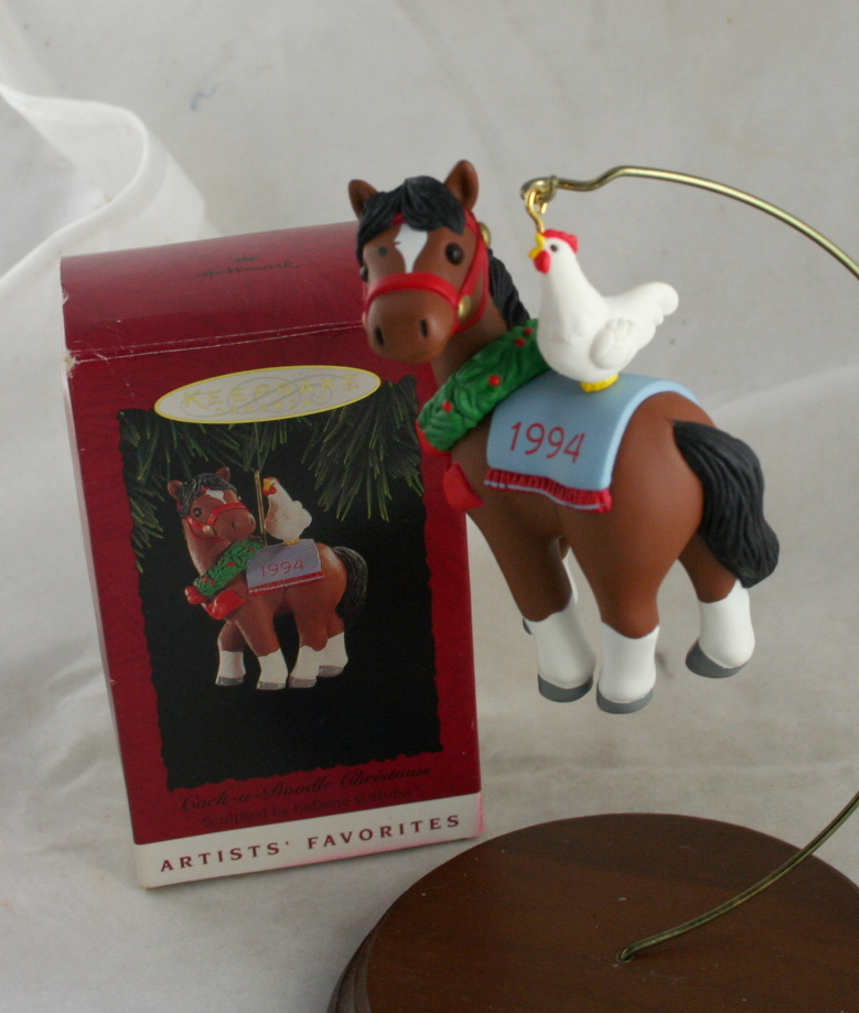 vintage christmas,Hallmark,Keepsake,1994,Cock a Doodle Christmas,signed,pony,rooster