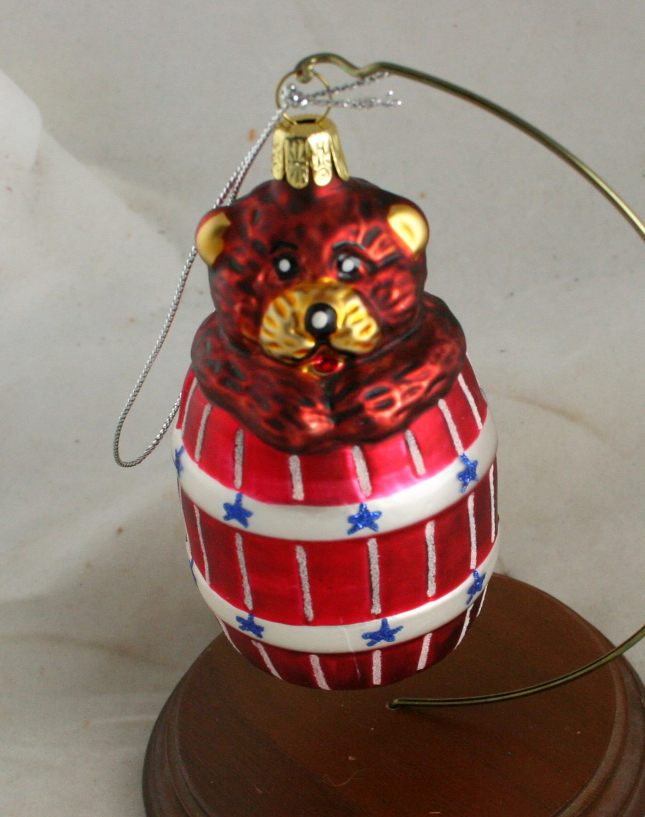 vintage christmas,figural glass,patriotic,bear,barrel