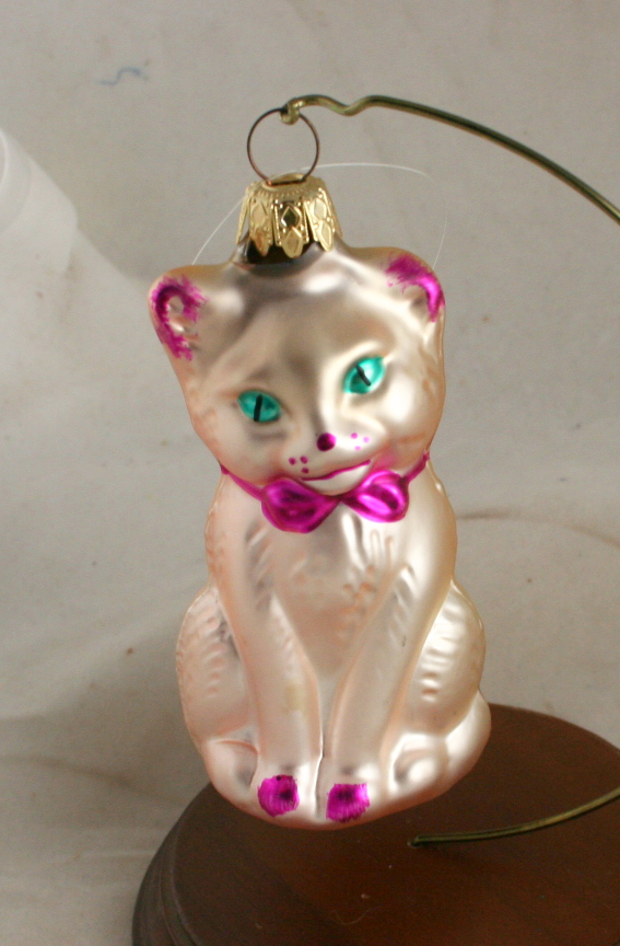 vintage christmas,figural glass,pink cat,West Germany