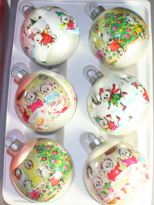 vintage christmas,Corning,sleeved,mouse,mice,boxed set,pastel,70s,60s