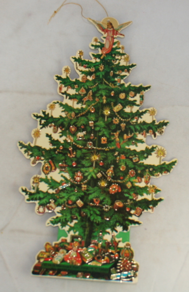 vintage christmas,paper,die cut, ornament,christmas tree,foiled,candy container