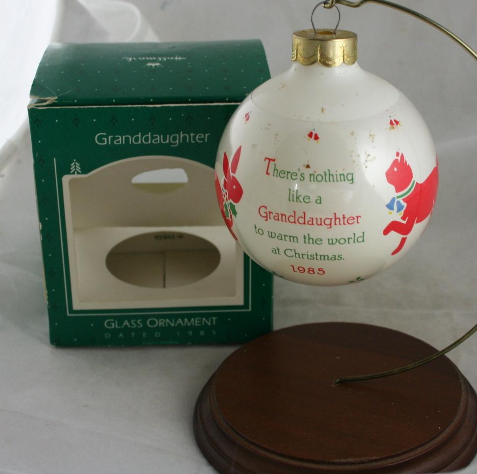 vintage christmas,Hallmark,Keepsake,1985,Granddaughter,sleeved ball