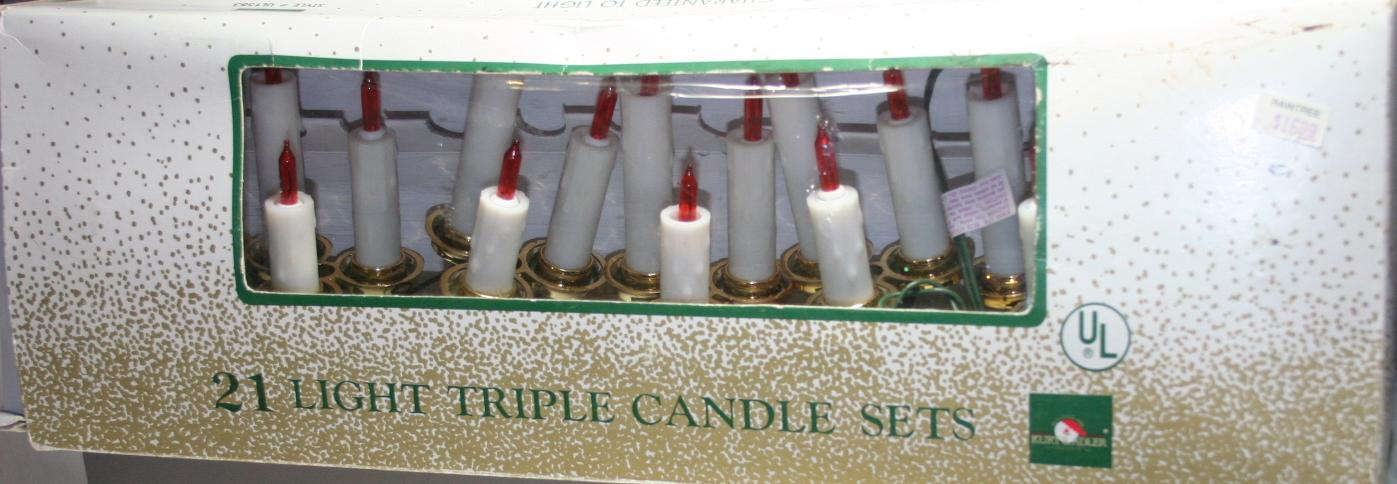 vintage christmas,Kurt Adler,light set,twinkle,triple candle