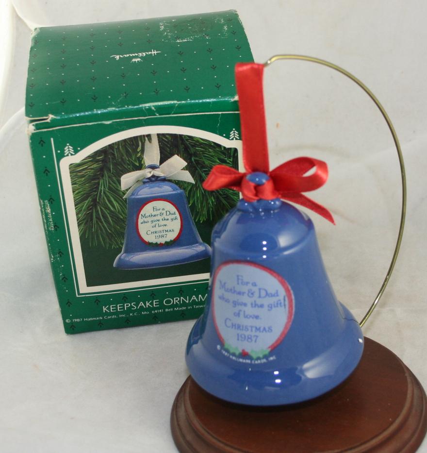 vintage christmas,Hallmark,Keepsake,1987,Mother & Dad,porcelain,bell