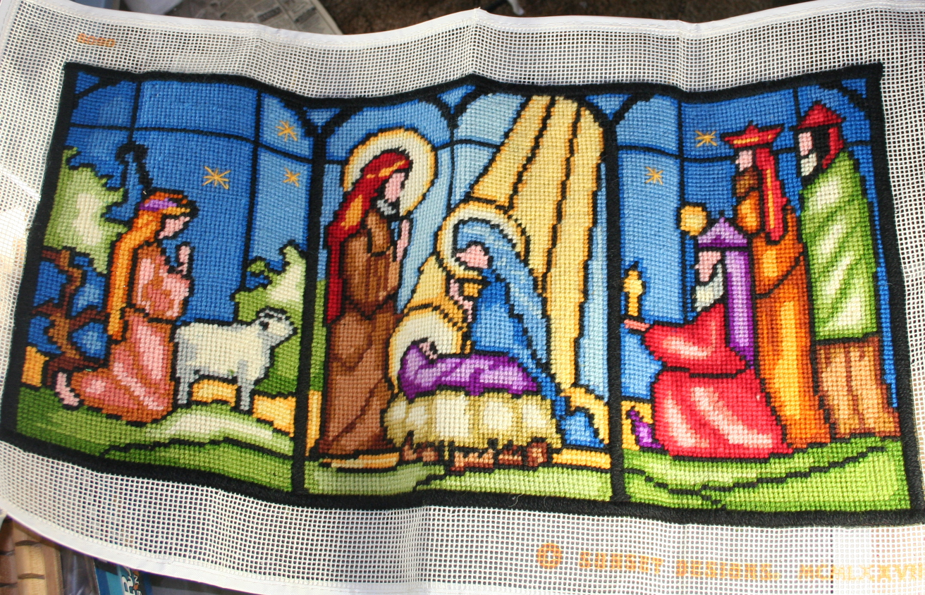vintage christmas,needlepoint,nativity,stained glass,Sunset,completed