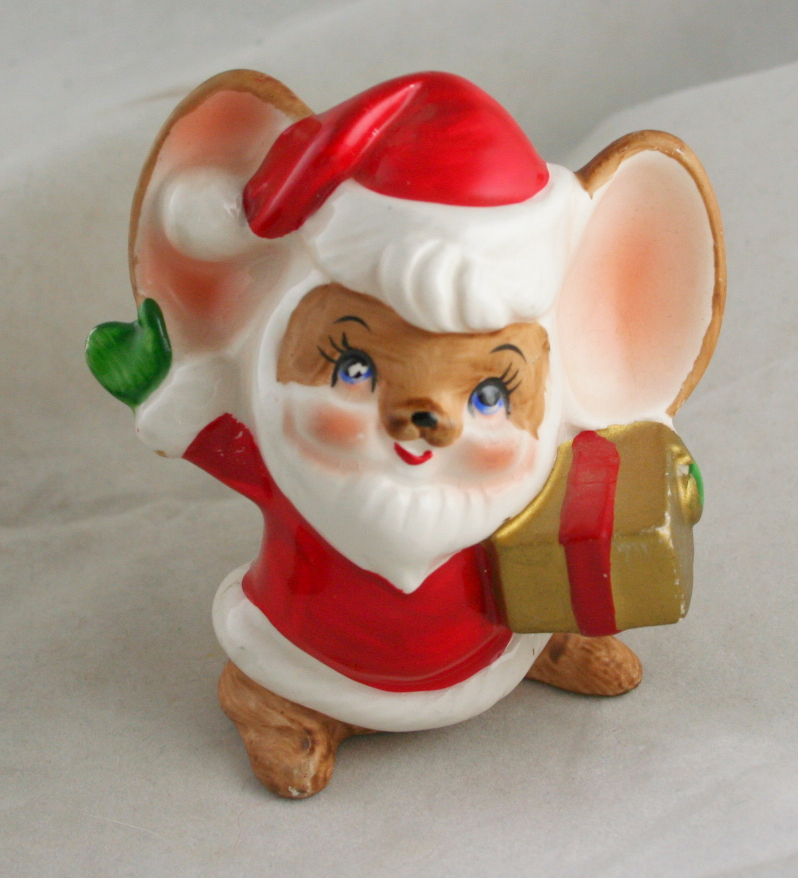 vintage christmas,Made in Japan,Santa,Mouse