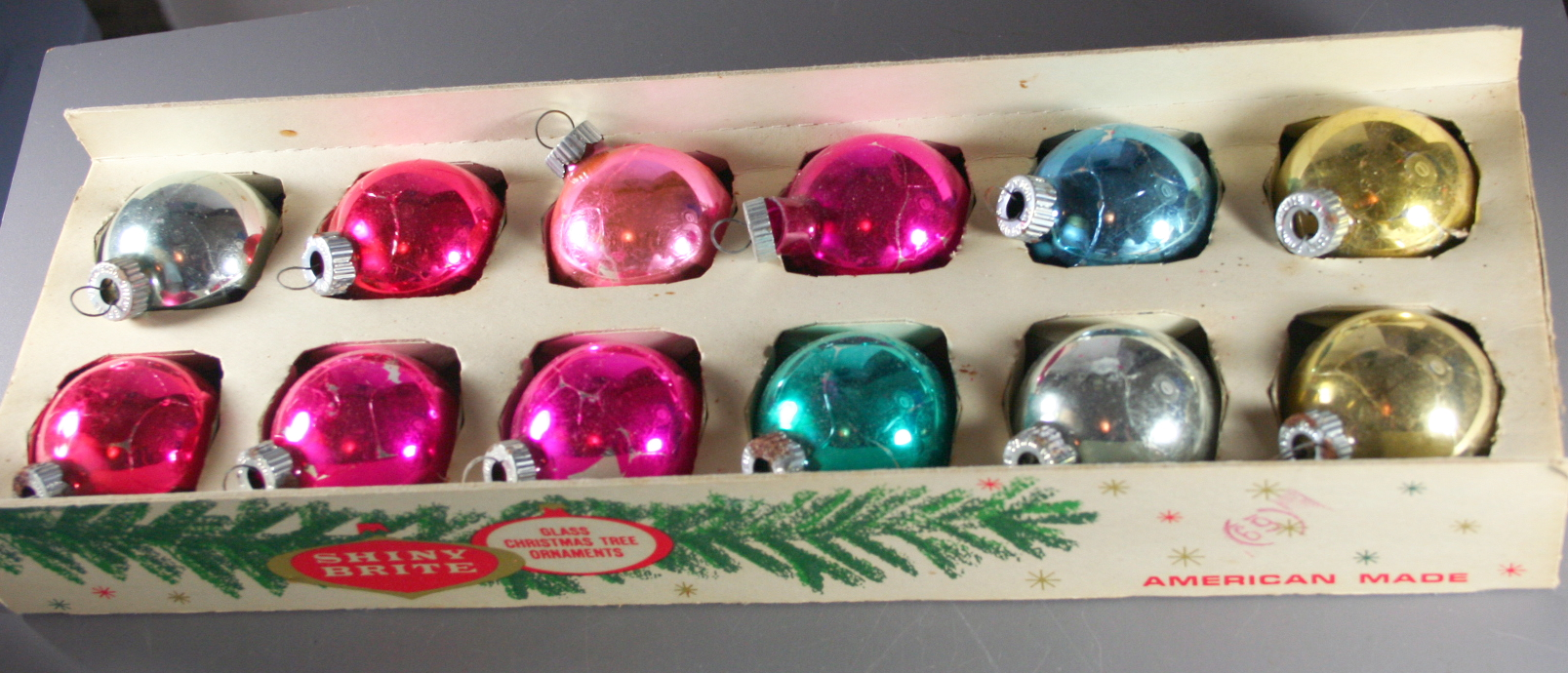 vintage christmas,Shiny Brite,boxed set,pastel,50s,60s