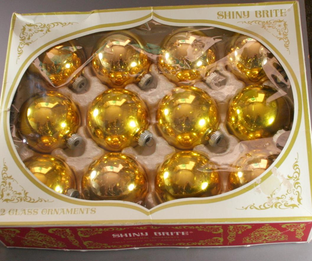vintage christmas,Shiny Brite,glass,box,ornaments
