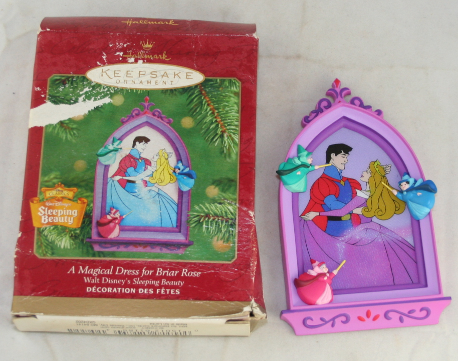 vintage christmas,hallmark,2001,Disney,Sleeping Beauty,dress,Breir Rose,fairies