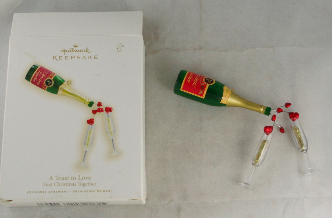 vintage christmas,hallmark,2009,first christmas,together,toast to love