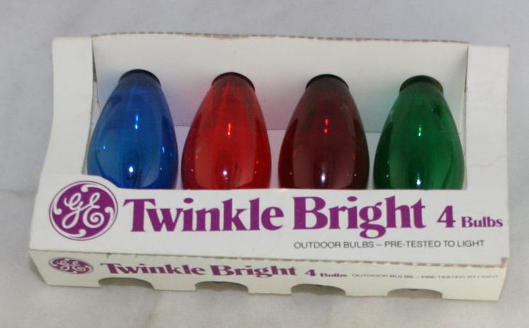 vintage christmas,GE,Twinkle Bright,translucent,C9,intermediate base