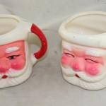vintage ceramic, mugs,santa