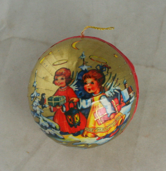 vintage christmas,ornament,candy container,paper mache,West Germany