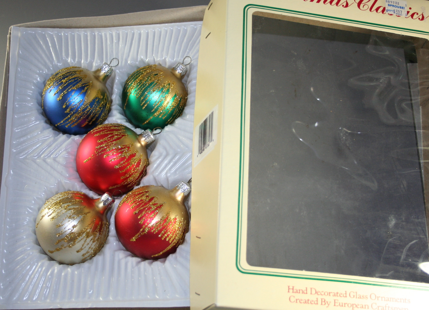 vintage christmas,ornaments,glass,boxed set,Commodore