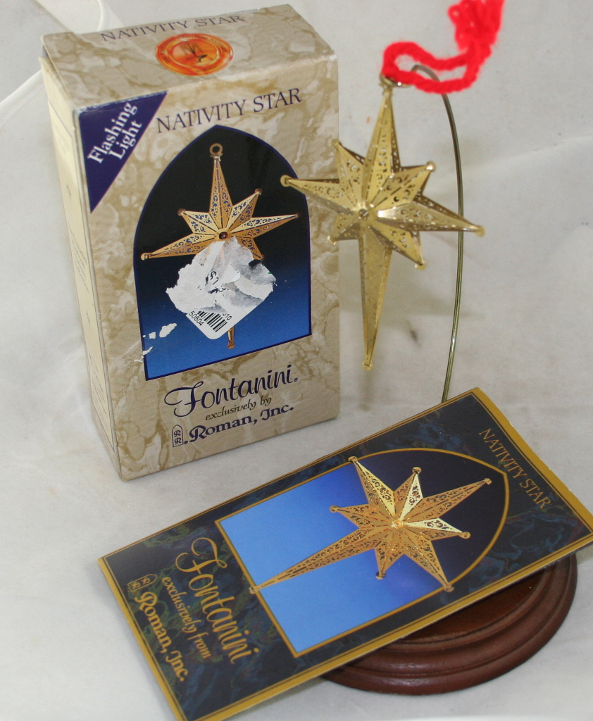 vintage christmas,ornament,Fontanini,nativity,star,battery operated