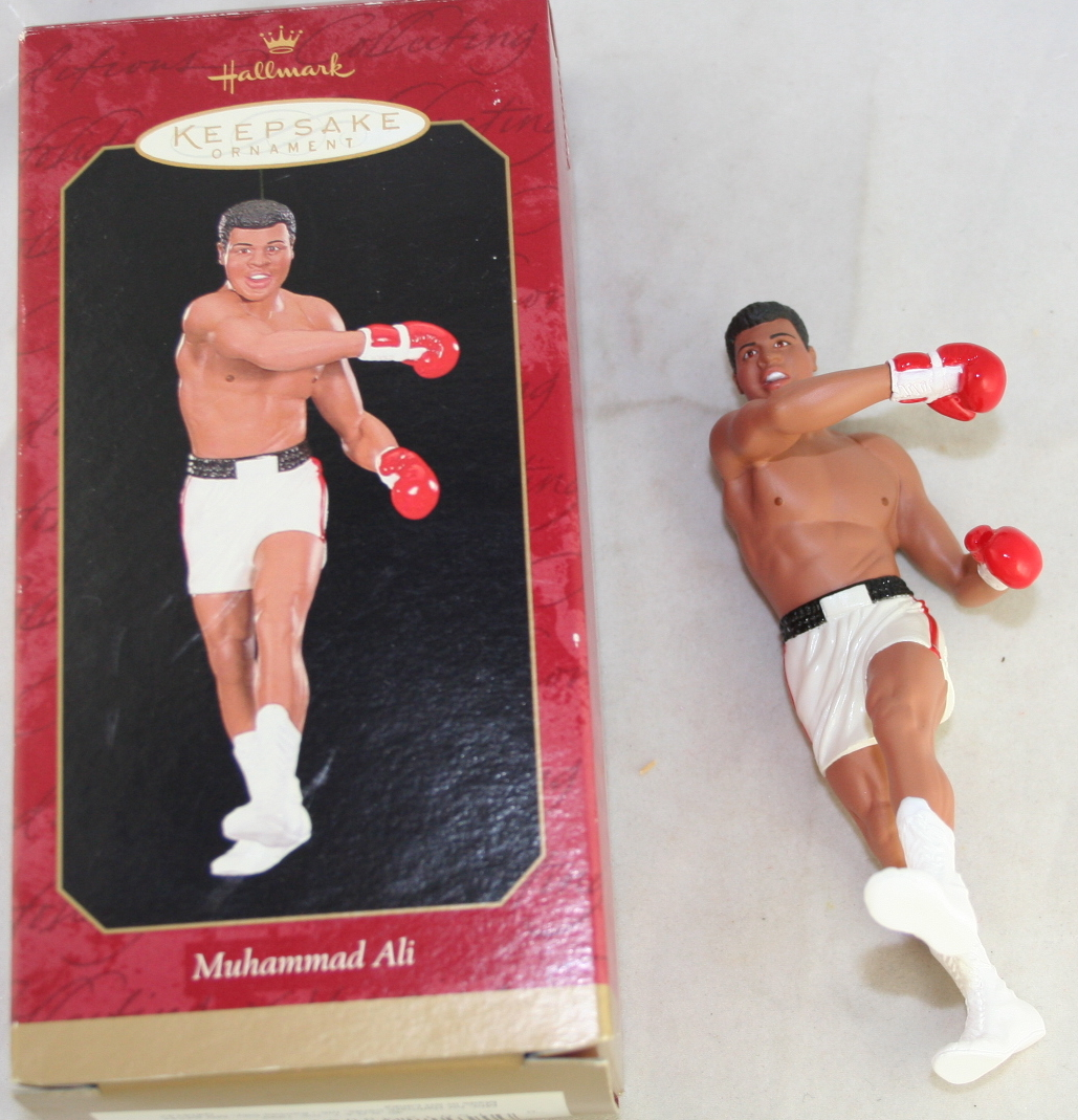 vintage christmas,ornaments,Hallmark,Keepsake,Muhammed Ali,sports,boxing
