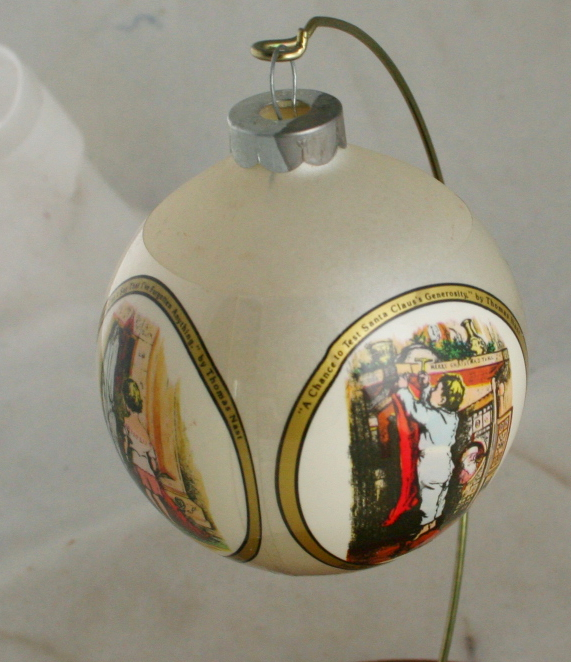 vintage ornaments,glass ball,sleeved,Thomas Nast,Rauch