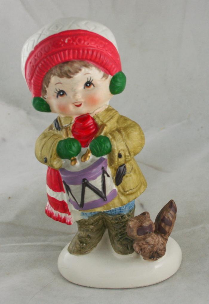 vintage christmas,ceramic,figurine,drummer boy,Napco