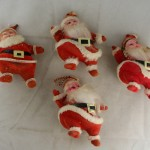 vintage ornaments,santa,dancing,flocked,plastic,vinyl,chenille
