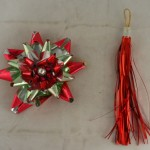 vintage ornaments,foil,glass bead,tassel,starburst,red,green