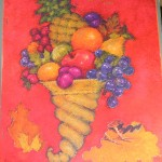 Hallmark,book,die cut,Thanksgiving,decorations,cornucopia,harvest,fruits,turkey