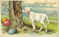 lamb,bunny,egg,Easter,postcard