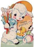 lamb,chick,Easter,egg,greeting card