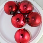 vintage ornaments,plastic,1960s,red,sphere