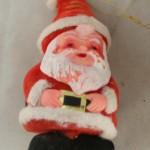 vintage ornaments,santa,standing,flocked,plastic,vinyl,chenille