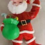 vintage ornaments,santa,waving,flocked,plastic,vinyl,chenille