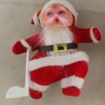 vintage ornaments,santa,skating,flocked,plastic,vinyl,chenille