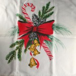 vintage towel,cotton,printed,spray,pine,red bow,candy cane,bells