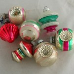 vintage ornament,Shiny Brite,stripes,glass ball,shapes