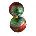 G & D White Glitter Stripe Glass Ornament Set